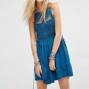 Free People Womens Dress S Teal Emily Crochet Pane